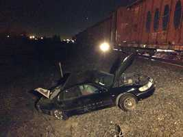 A car was smashed by a train that crosses Power Inn Road in south Sacramento early Tuesday morning.