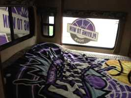 "This shot shows the sleeping quarters on board for tour organizer ""Carmichael Dave."""