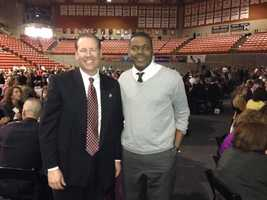 Stockton Police Chief Eric Jones and Stockton Councilman Michael Tubbs at the forum.