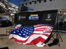 The banner for the U.S. Ski Team and U.S. Alpine Championships.