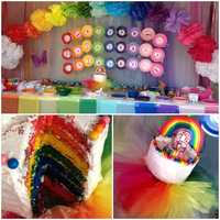 "16.) I love to entertain -- and I especially love celebrating birthdays. My daughter asked me to ""go big"" for her rainbow birthday party this year. This is what I came up with, along with a lot of help from my crafty girlfriends! This photo is from my Pinterest page. You can follow me at TVlisagonzales for more ideas."