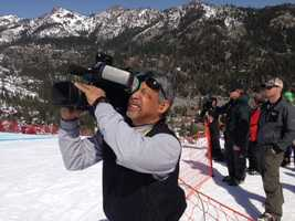 """KCRA 3 photographer Mike """"Domi"""" Domalaog at the U.S. Alpine Championships at Squaw Valley Resort. (March 22, 2013)"""