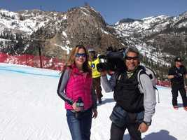 "KCRA's  Deirdre Fitzpatrick and photographer Mike ""Domi"" Domalaog at the U.S. Alpine Championships at Squaw Valley Resort. (March 22, 2013)"