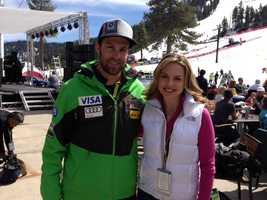 KCRA's Deirdre Fitzpatrick poses with Travis Ganong of the U.S. Men's Ski Team.