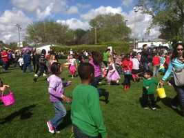 Thousands of kids search for Easter eggs at Haggin Oaks Golf Course.
