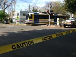 A light rail train derailed from its track Wednesday morning in Sacramento.