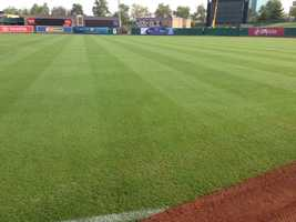 The playing surface is 105,000 sq. feet.  The sod was purchased and installed by a sod farm in Livingston.