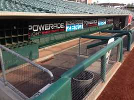 The River Cats dugout is ready for the home opener.