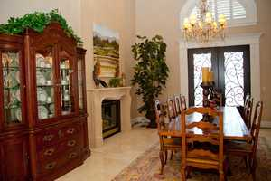 This home is located in Granite Bay and has views of Folsom Lake. Here's a look inside the home's dining room.
