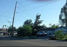 A KCRA Insider sent in this photo of power lines going down in Davis.