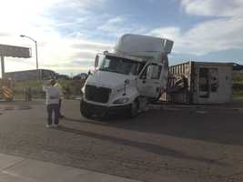 A big rig trailer carrying a large load of red meat crashed off Interstate 80 early Friday morning.
