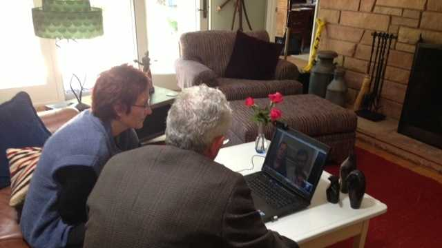 Bill Hambrick and his wife used Skype to communicate with their daughter who lives just outside of Boston during the lockdown on Friday.