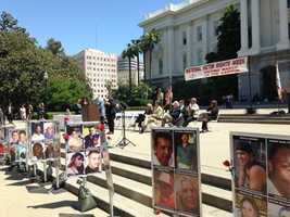 Hundreds gather on the west steps of the capitol Tuesday for a national victim rights' week in Sacramento.