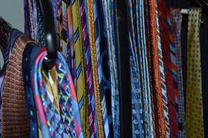 """9.) """"Dude, you have the nicest ties!"""" I get a lot of emails and comments about my collection of cravats. Here we are inside the Gulstan Dart wardrobe facility (closet), where all those ties are waiting to be picked."""