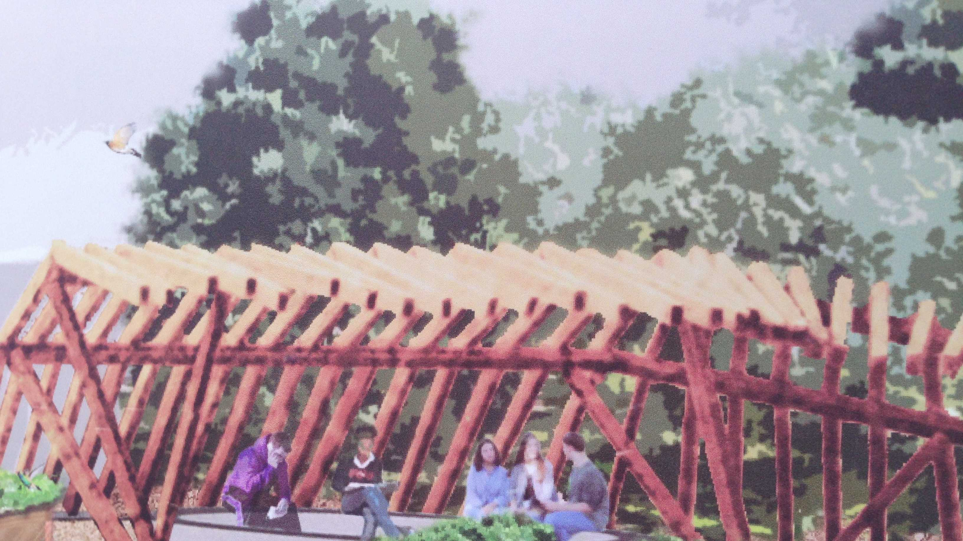 An artist drawing shows what the future Sacramento Charter High School garden will look like.