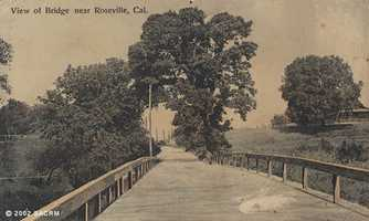Then: This bridge is near Roseville, but an exact location is unknown.