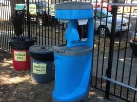 This photo shows the wash station and trash collection area at the camp (May 1, 2013).