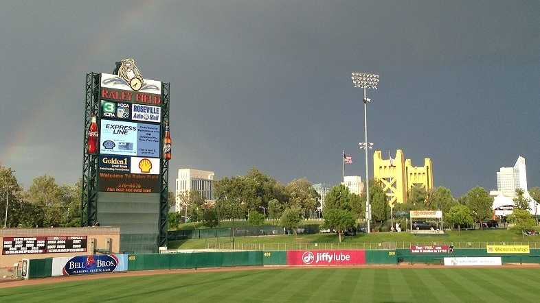 A rainbow forms above Raley Field on Tuesday. Upload your weather photos to u local.