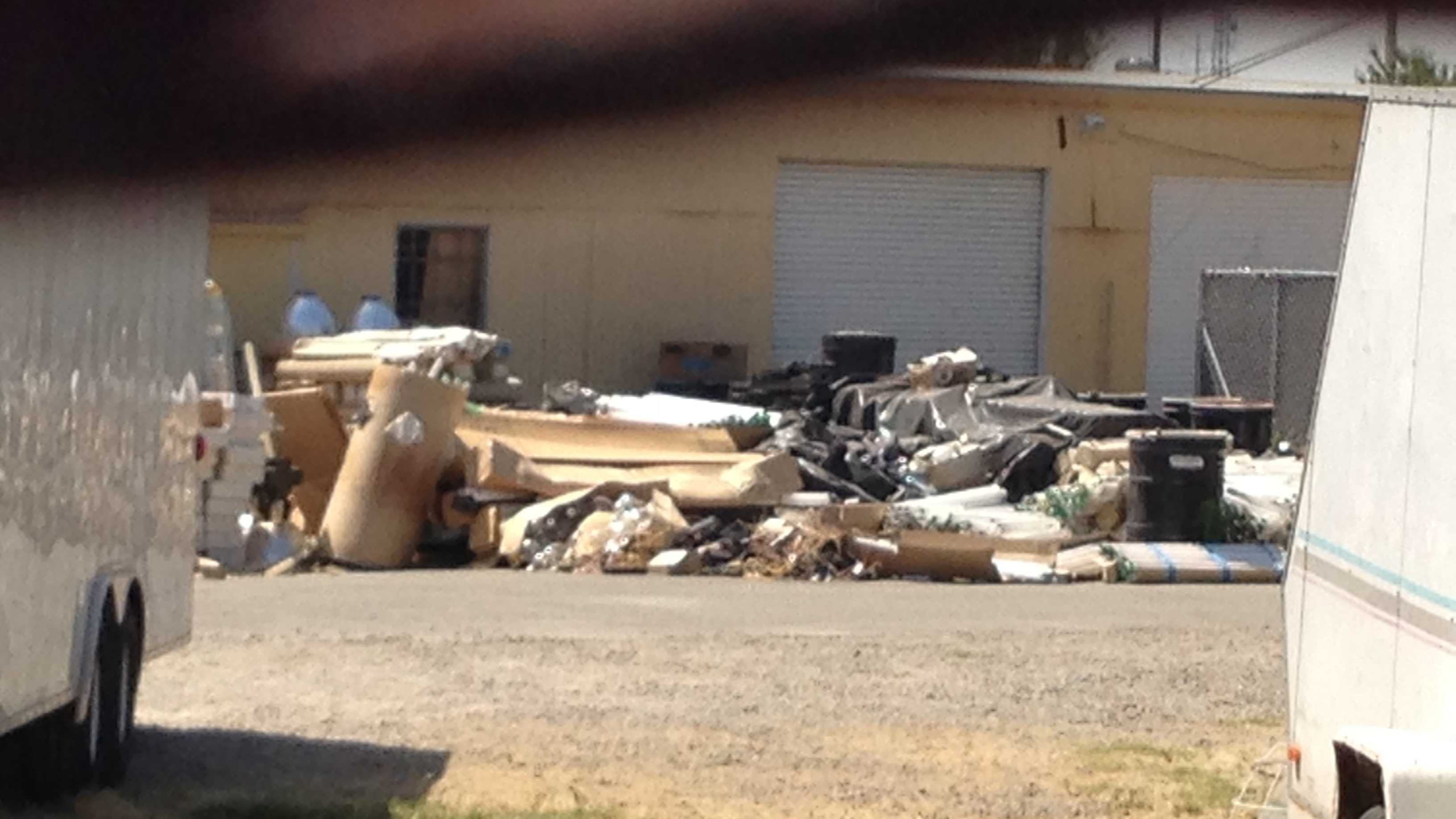 More of the materials stacked behind a Sacramento electrical contractor