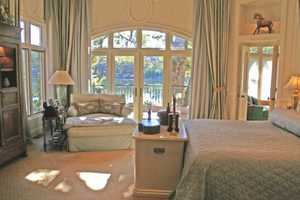 Here's a look inside the master bedroom. The home also features a guest apartment.