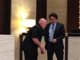 George Maloof greets a hotel staff member in Dallas.