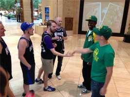 Kings fans gather at a hotel in Dallas, where NBA owners are meeting to discuss the sale of the franchise.