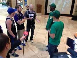 Kings fans and Seattle fans chat inside the Dallas hotel.