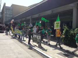 More than a dozen protesters were arrested just before a meeting for the UC Regents.