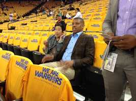 Mayor Kevin Johnson sits in the stands at Oracle Arena before the start of Game 6 of the Warriors-Spurs playoff series.