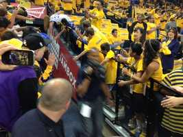 Warriors fans get ready for Game 6 of the Western Conference semifinals at Oracle Arena.