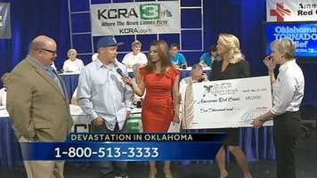 KCRA 3 is hosting a disaster relief drive on Wednesday from 6 a.m. to 8 p.m. to raise funds that will benefit those in areas impacted by the Oklahoma tornado. People may donate by calling 1-800-513-3333, by texting the word REDCROSS to 90999 to make a $10 donation, or by visiting redcross.org.