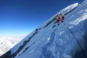 It took the Alpenglow Expeditions team a speedy 5hrs 45mins to reach the summit from Camp 4, according to Ballinger.