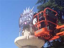 The Sacramento Kings logo is raised onto a fountain at Cesar Chavez Plaza in downtown Sacramento (May 23, 2013).