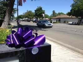 Friends of De Anna Lynn Johnson, a Vacaville teenager who was murdered 30 years ago, marked Johnson's birthday on Friday by distributing 500 purple bows throughout the city. (May 24, 2013)