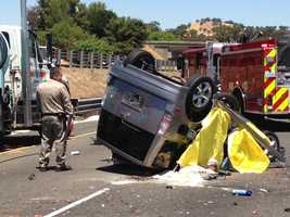 The CHP said a woman in her 70s was driving a Toyota Scion along Interstate 80 near Pena Adobe Road just before 2 p.m.