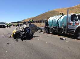 The Caltrans worker was outside of his vehicle trimming some bushes and was not injured, CHP said.