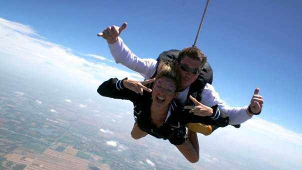 """4. This was one of the scariest things I've ever done, but I had a smile on my face the whole time! I went skydiving to kick off a TV series called """"Extreme Kellie"""" when I was an anchor in Denver. I crossed off about 60 things on my bucket list. (Check out the videos on YouTube!)"""