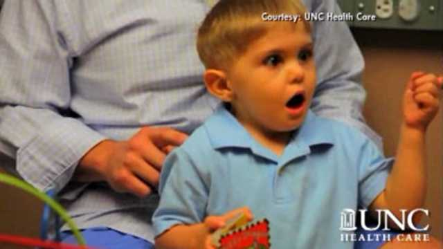 Deaf boy hears first time