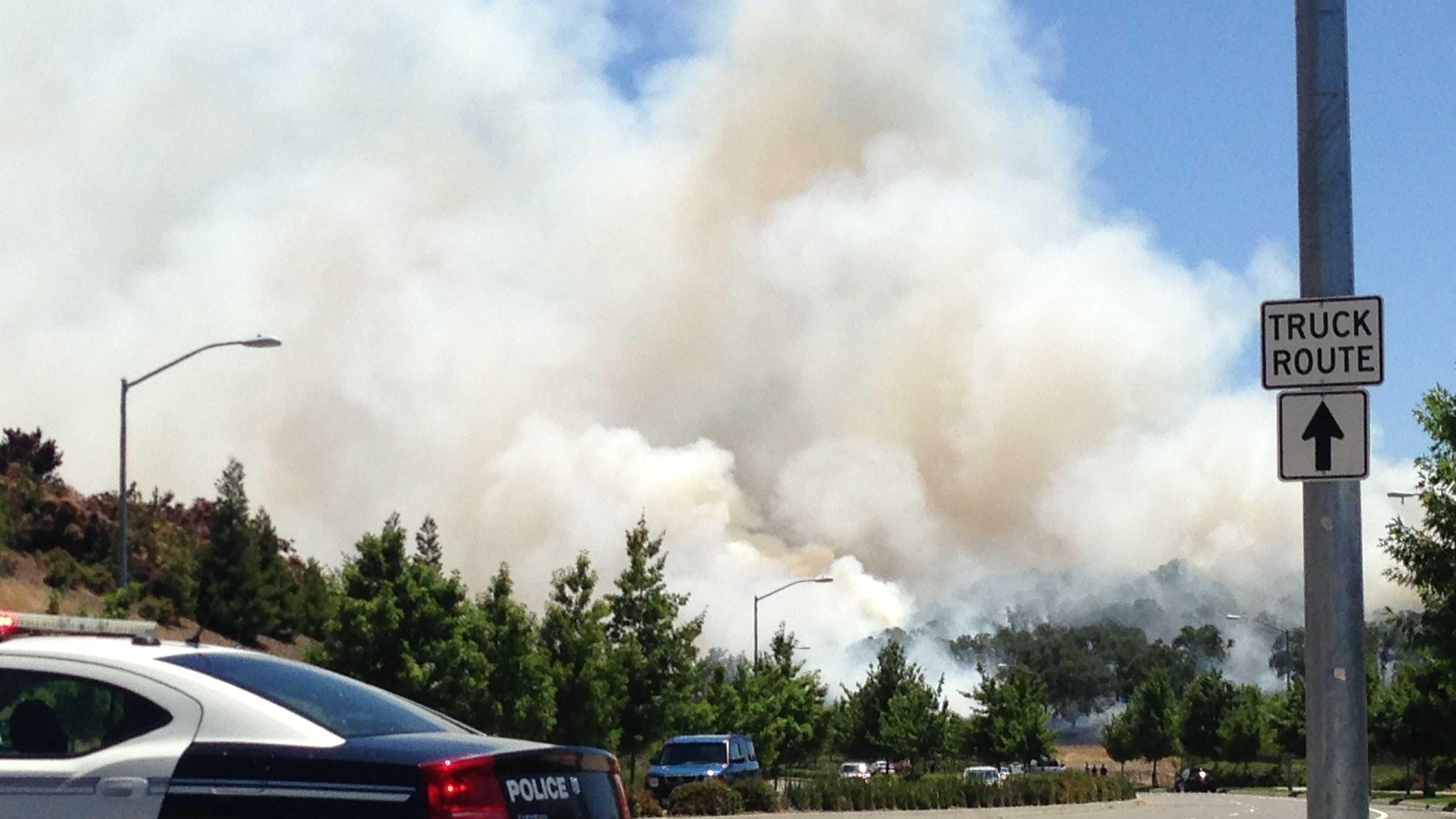 Folsom grass fire