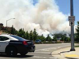 The blaze burned 16 acres near Empire Ranch Road, but firefighters with the Folsom Fire Department got it under control quickly (June 19, 2013).