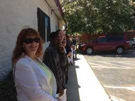 People lined up for interviews at St. Ignatius Loyola Parish on Arden Way in Sacramento.