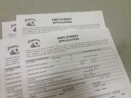 Prospects filled out employment applications at St. Ignatius Loyola Parish on Arden Way in Sacramento.