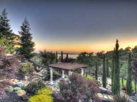 The eastern-seaboard style home overlooks Folsom Lake.