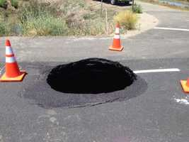 A sink hole along Highway 113 in Sutter County is expected to be repaired by the weekend, according to Caltrans.