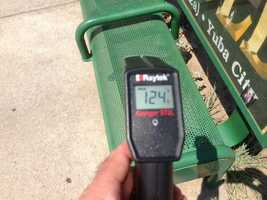 Bus stop bench: 124 degrees.Click here for Mark's latest forecast.