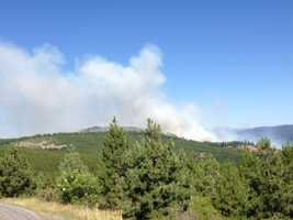 A fire in El Dorado County prompted evacuations on Monday afternoon near Kyburz (July 8, 2013).