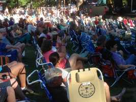 Many pulled up lawn chairs to watch the bands perform at Grass Valley's WorldFest on Friday (July 12, 2013).