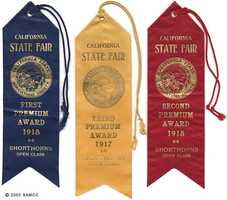 These three ribbons were given out to those who won the shorthorn cattle category at the California State Fair in 1917 and 1918. The ribbons feature the seal of the California State Agricultural Society.