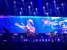 """A Bruno Mars band member closed out the Sacramento show by introducing Mars to the crowd as, """"The Original Hooligan,"""" a reference to Mars' first album, """"Doo-Wops and Hooligans"""" (July 24, 2013)."""