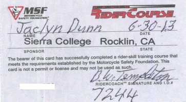 It's official: My certification for completing the motorcycle safety course.